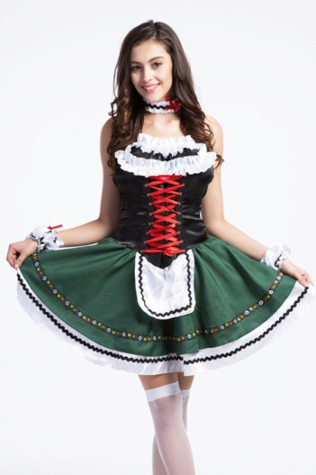 Halloween-cosplay-German-Beer-Festival-green-midi-Skirt-Female-Maid-Beer-girl-lolita-love-costume-Of