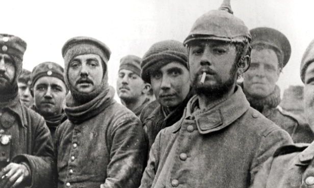The first world war Christmas truce - British and German soldiers at Ploegsteert in Belgium