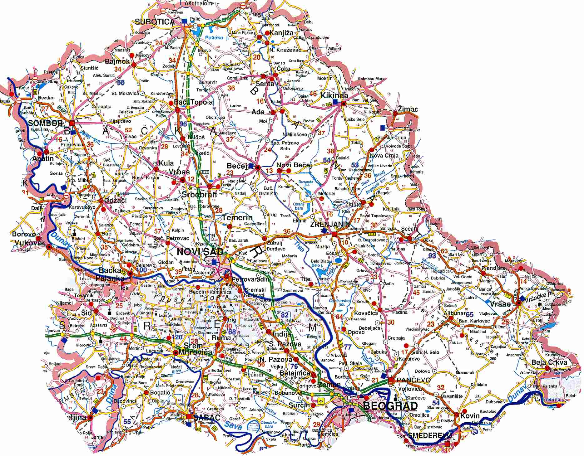 karta Vojvodine