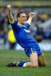 9 Apr 1988: Vinnie Jones of Wimbledon celebrates during the FA Cup Semi-final against Luton Town at White Hart Lane in London. Wimbledon won the match 2-1. Mandatory Credit: Russell Cheyne /Allsport